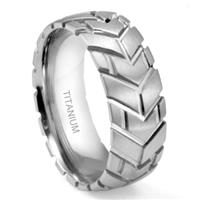 Titanium 8MM Motorcycle Tire Tread Dome Wedding Band Ring
