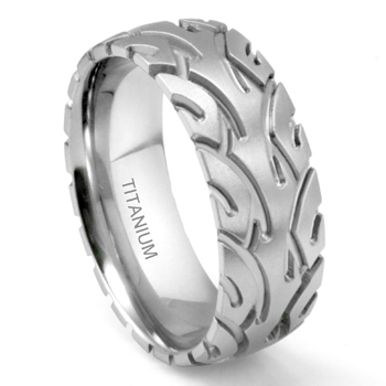 Titanium 8MM Motorcycle Tire Tread Wedding Band Ring