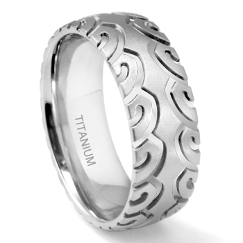 Titanium 8MM Sport Bike Tire Tread Wedding Band Ring