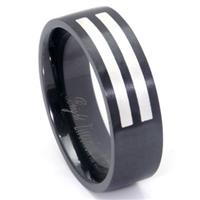 Black Zirconium Silver Inlay Wedding Band Ring
