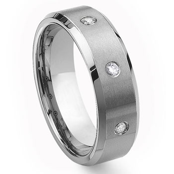 Tungsten Carbide Diamond Wedding Band Ring 8mm