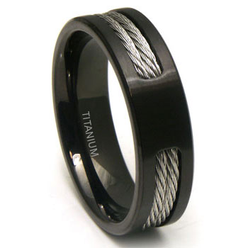 Black Anium Double Cable Wedding Band Ring