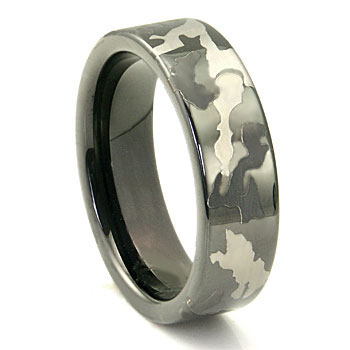 black tungsten carbide 7mm military camouflage wedding ring - Camouflage Wedding Rings