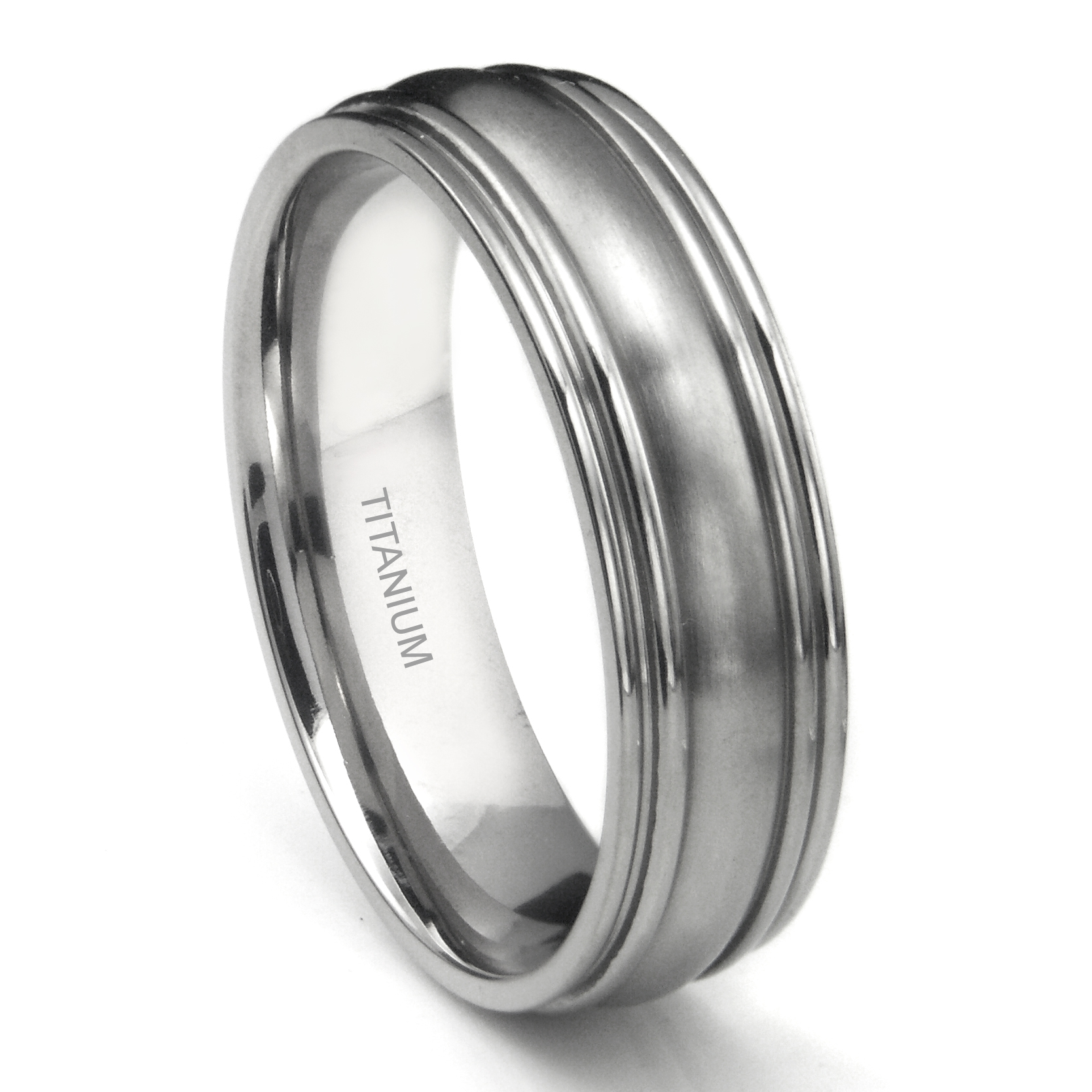 titanium 7mm ribbed men s wedding ring