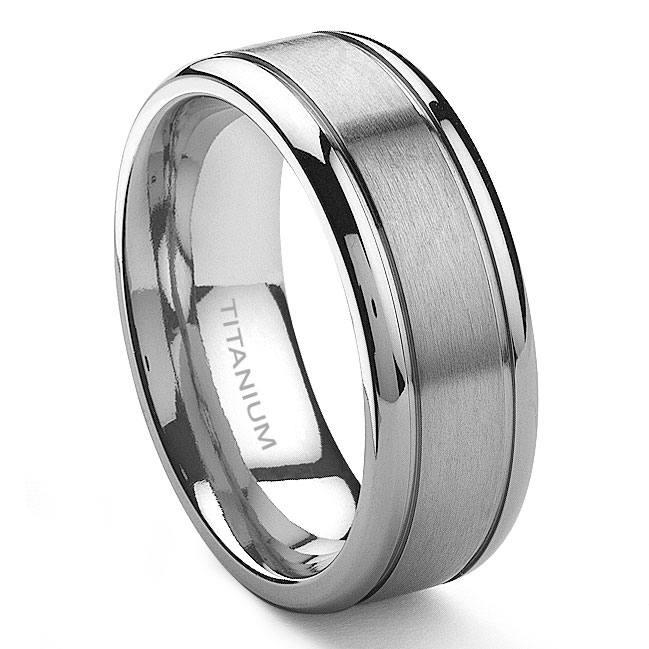 Tensus Anium 8mm Grooved Wedding Ring