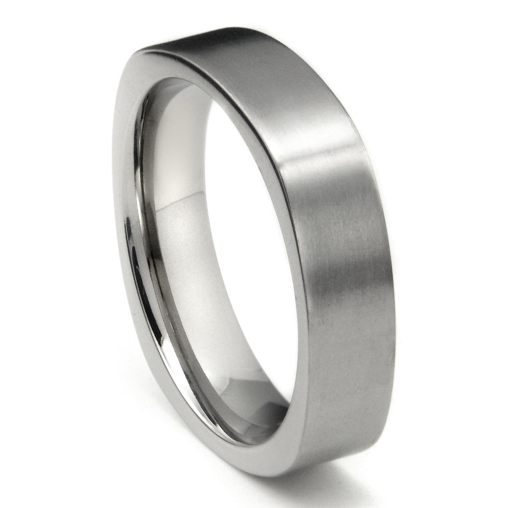 titanium 6mm satin finish square wedding band ring