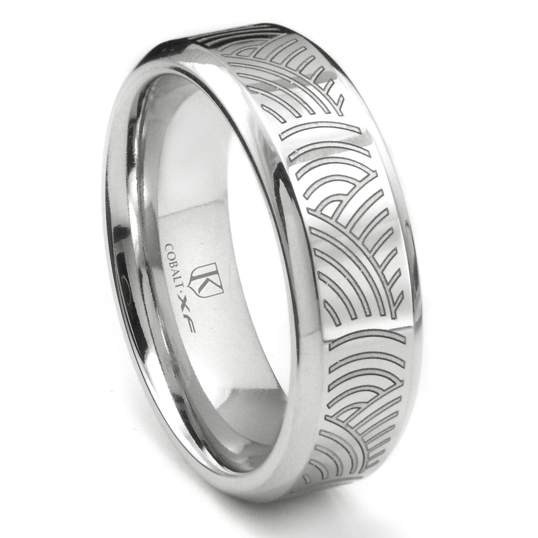 Cobalt XF Chrome Laser Engraved Wedding Band Ring w Ripple Designs
