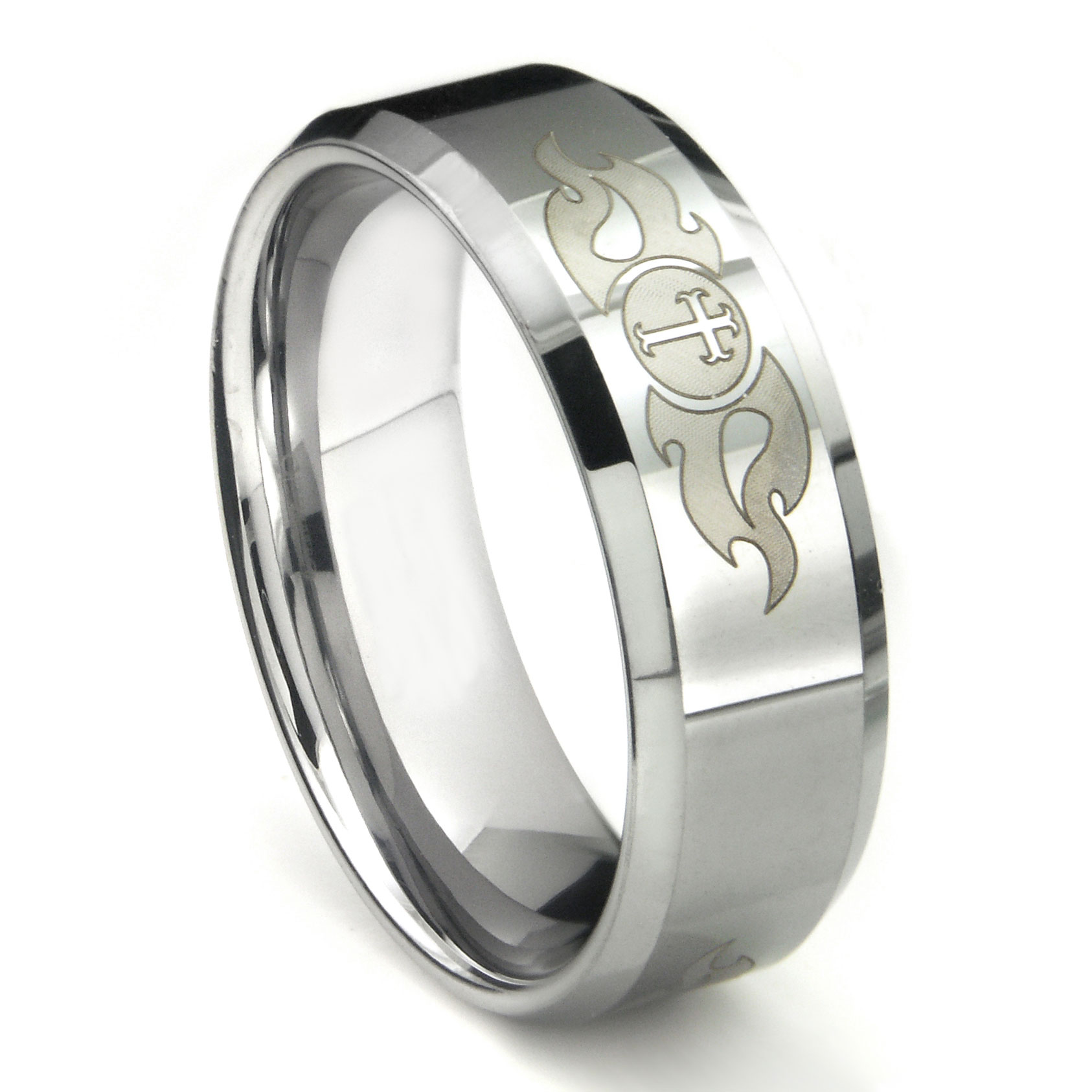 tungsten carbide laser engraved fiery cross wedding band ring