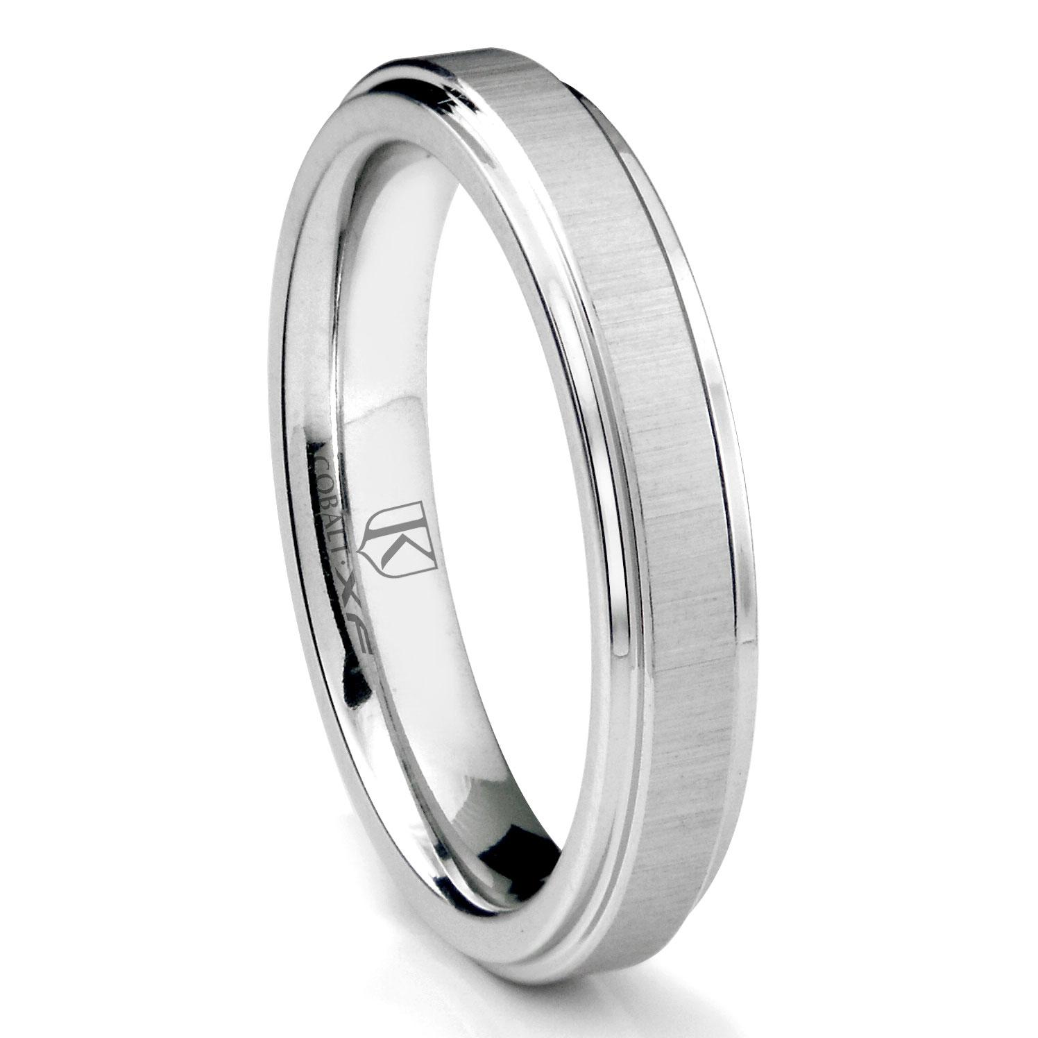 Cobalt XF Chrome 4MM Satin Finish Wedding Band Ring w Raised Center