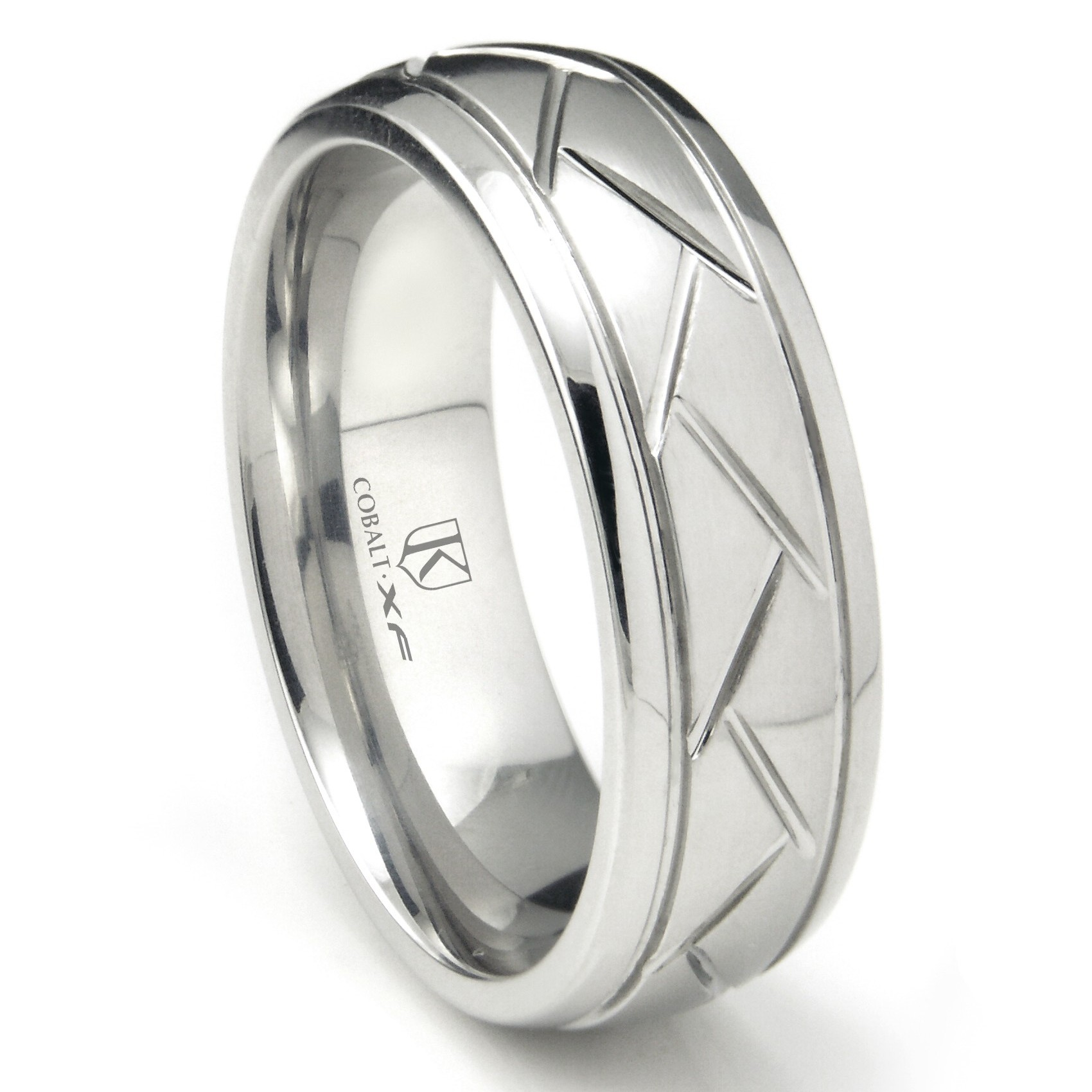 cobalt xf chrome 8mm diamond cut newport wedding band ring