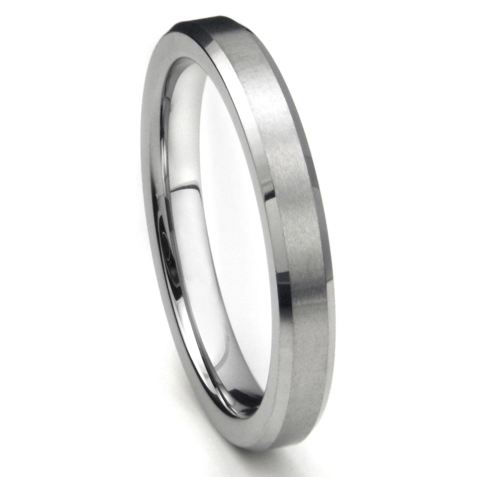 Tungsten Carbide 4MM Beveled Brush Finish Wedding Band Ring