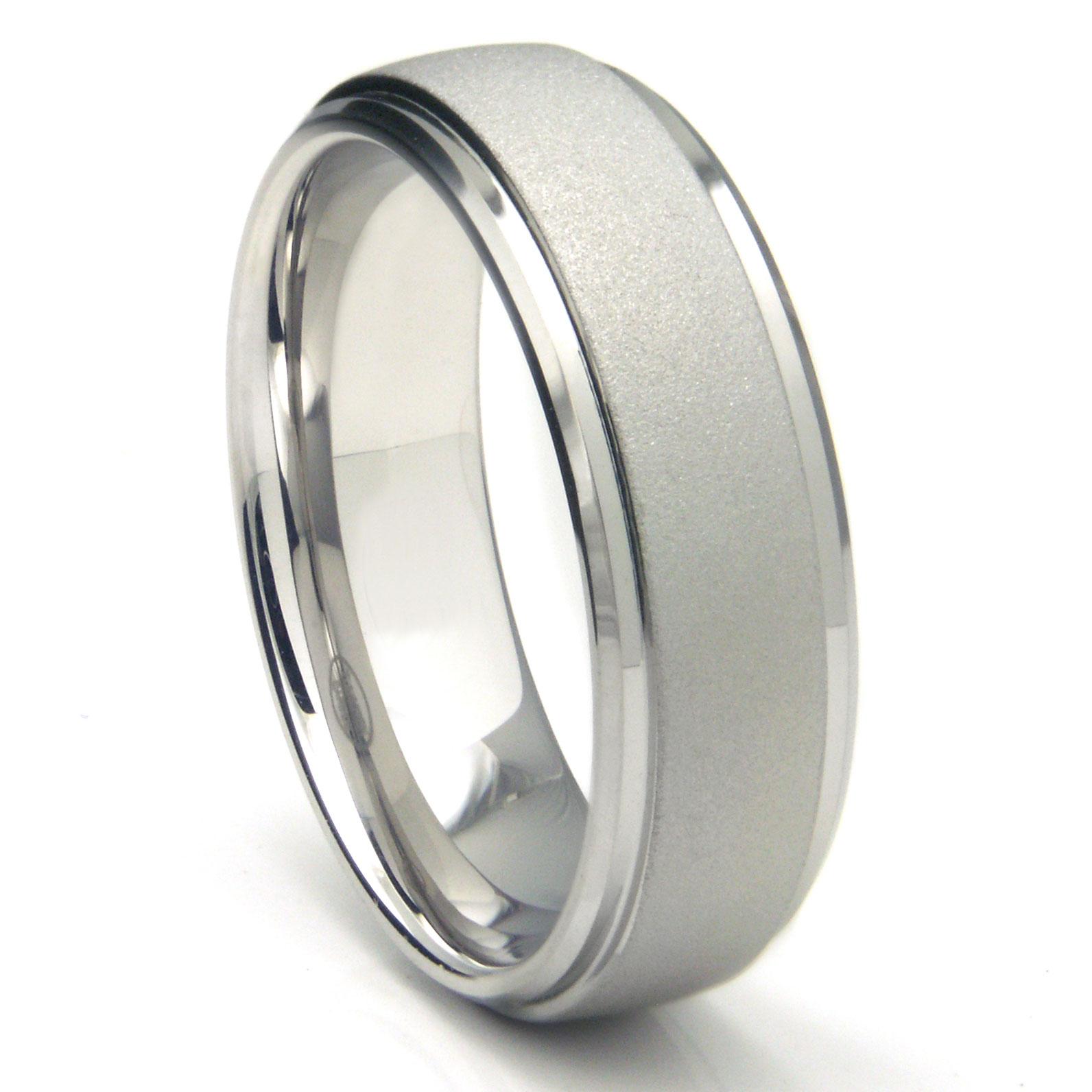 white tungsten carbide sandblast finish wedding band ring