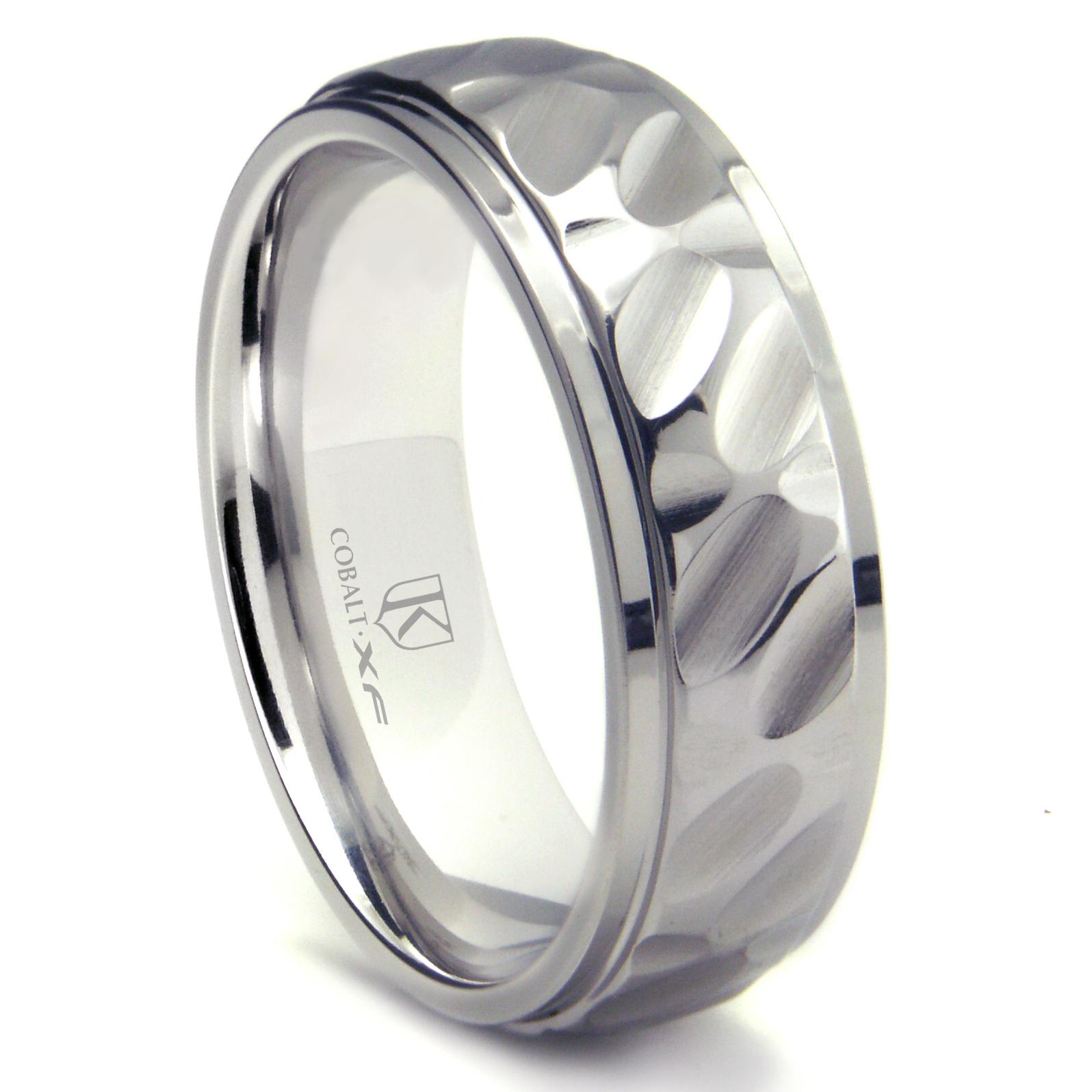 cobalt xf chrome 8mm hammer finish wedding band ring