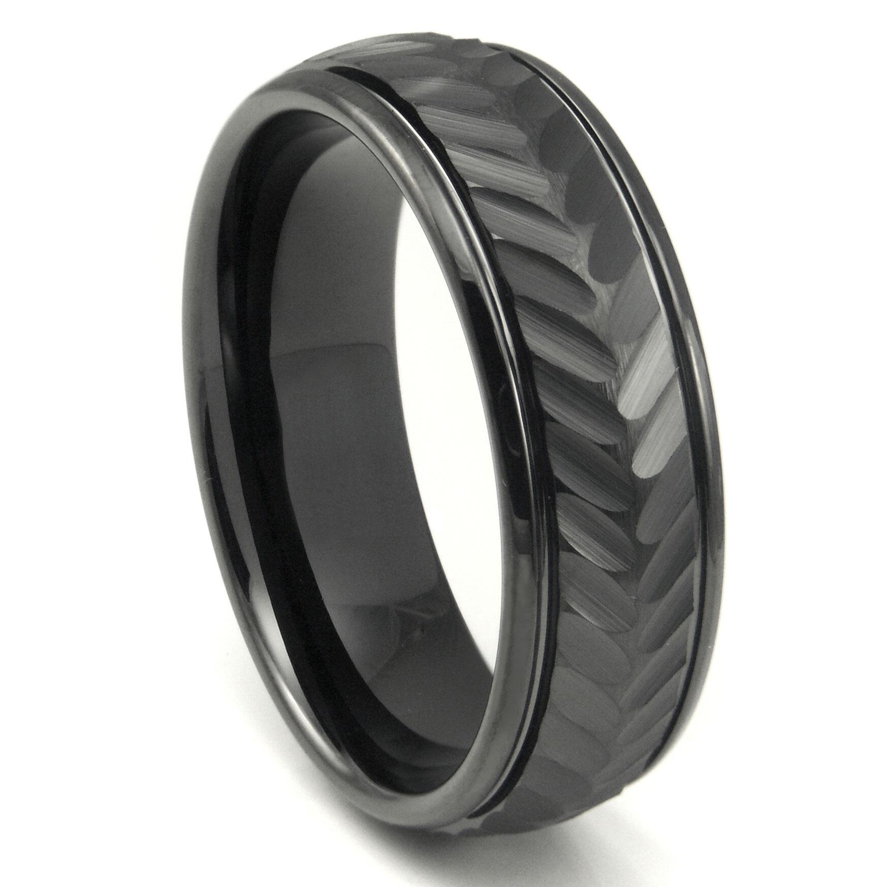 Black Tungsten Carbide 8MM Chevron Newport Wedding Band Ring