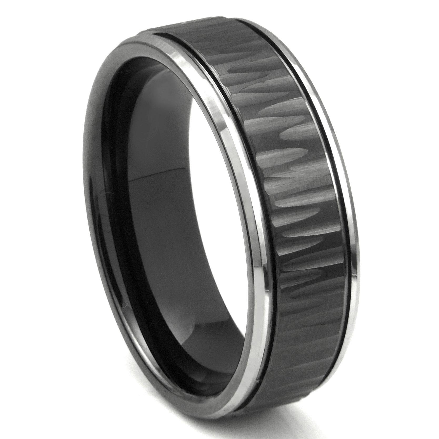 black tungsten carbide 8mm hammer finish newport wedding band ring