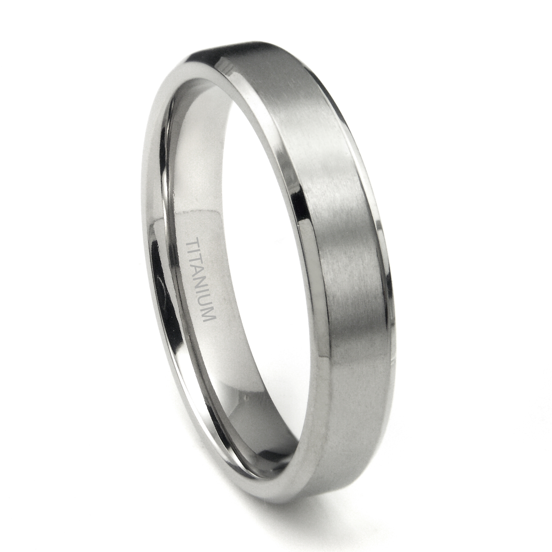titanium 5mm beveled wedding band ring w brushed center
