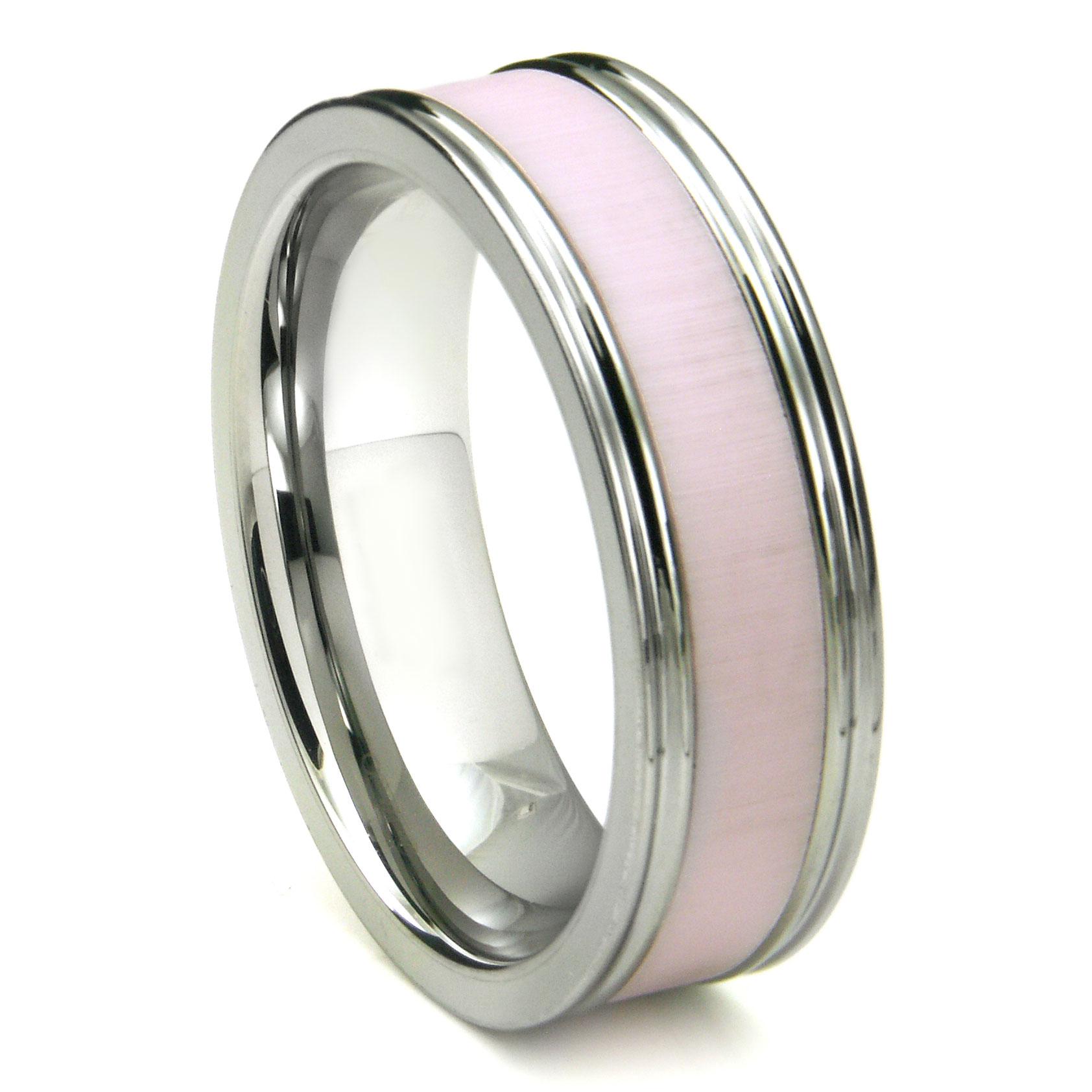 Tungsten Carbide Pink Ceramic Inlay Wedding Band Ring w