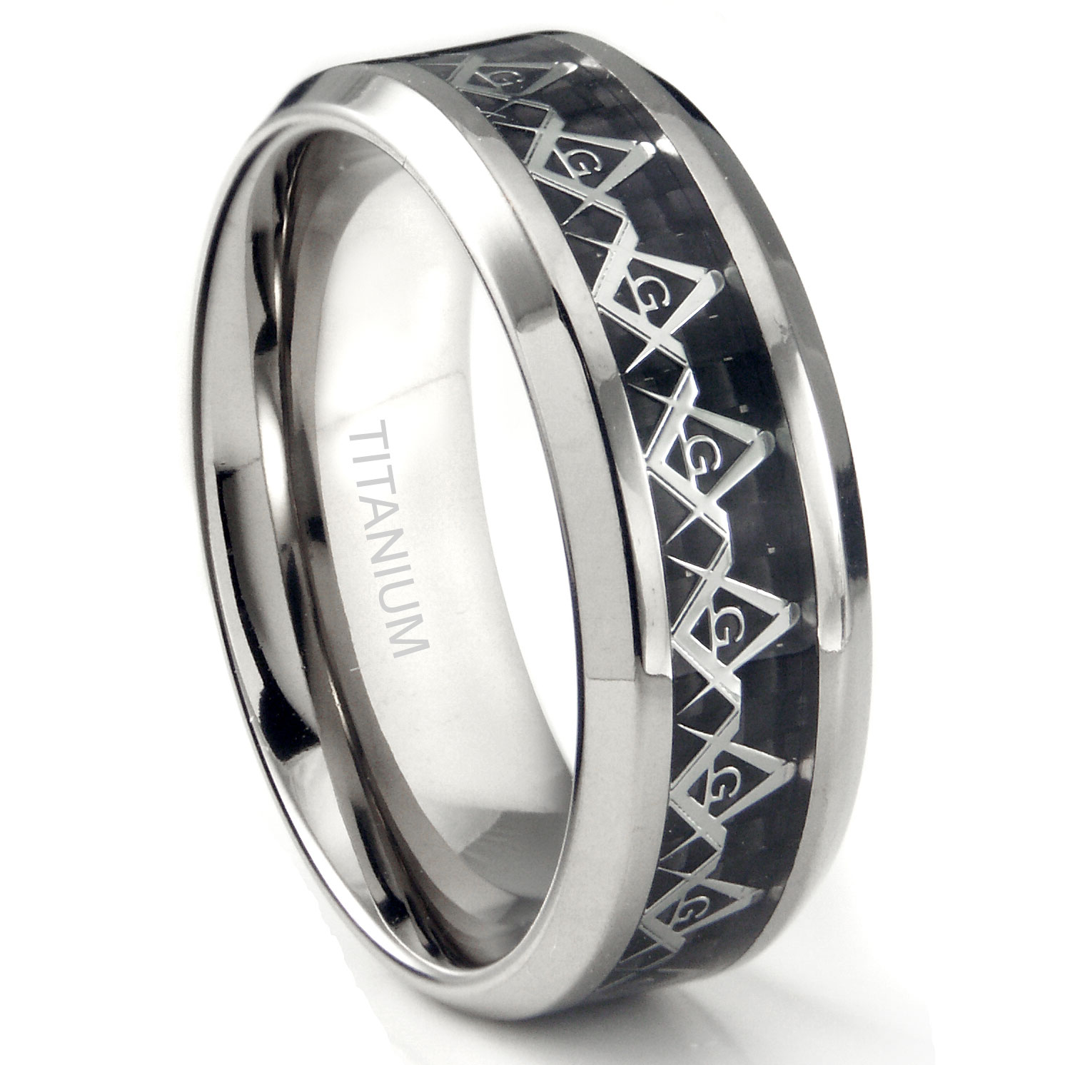 titanium 8mm masonic symbol inlay over black carbon fiber inlay