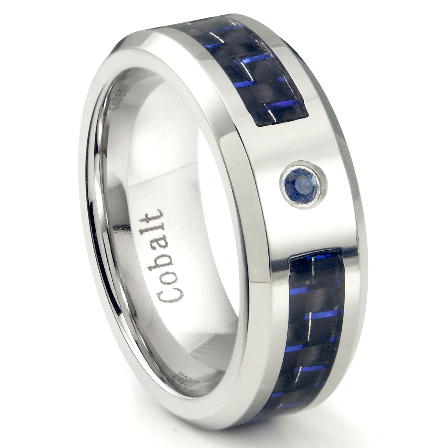 cobalt chrome 8mm blue sapphire carbon fiber inlay wedding - Cobalt Wedding Rings