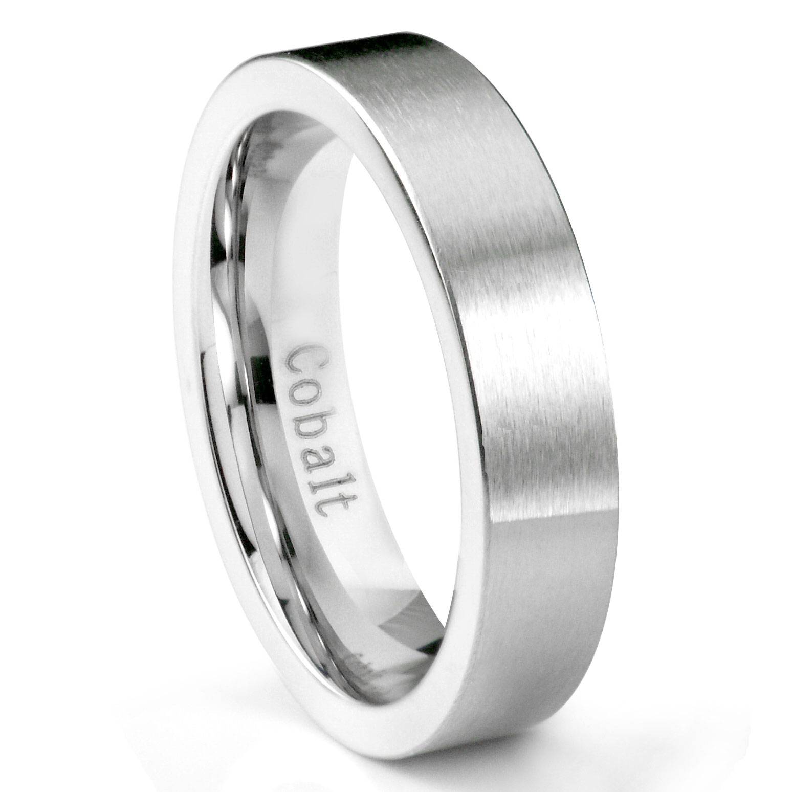 cobalt chrome 6mm brushed pipe cut wedding band ring