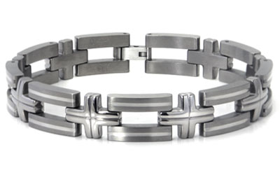 Titanium Silver Inlay Men's Bracelet w/ Cross Designs