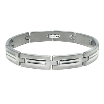 Titanium Double Ripped Design Link Bracelet