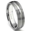 Titanium 7mm Ribbed Men's Wedding Ring