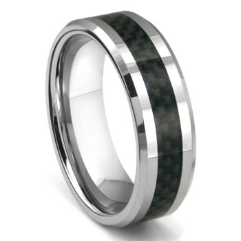 BOMANI Tungsten Carbide Carbon Fiber Ring