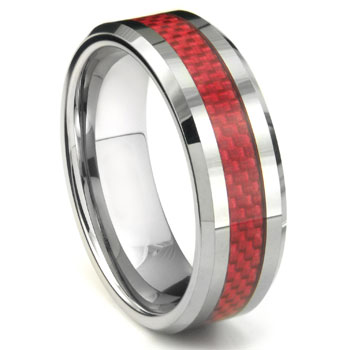 ALOYSIUS Tungsten Carbide Red Carbon Fiber Ring