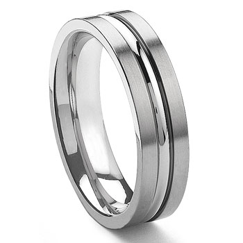 GRECO Tungsten Carbide Ribbed Men's Wedding Band Ring