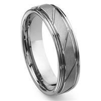 MACULATUS Tungsten Carbide Diamond Cut Groove Wedding Band Ring