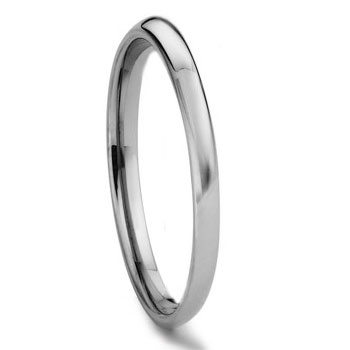 Tungsten Carbide 2MM Plain Dome Wedding Band