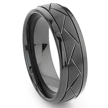 Black Tungsten Carbide 8MM Diamond Cut Dome Wedding Band Ring