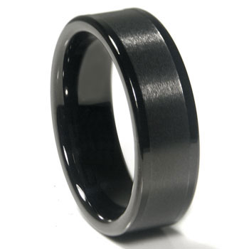 Black Tungsten Carbide 8MM Flat Wedding Band Ring