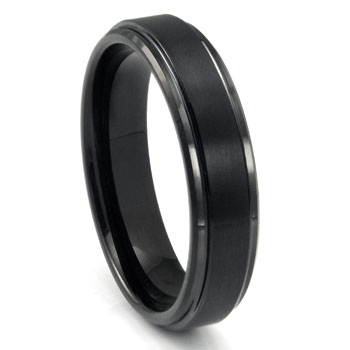 Black Tungsten Carbide Wedding Band Ring w/ Raised Center