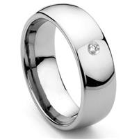 8MM Tungsten Carbide Solitaire Diamond Dome Wedding Band Ring