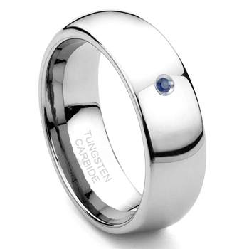 8MM Tungsten Carbide Solitaire Sapphire Dome Wedding Band Ring
