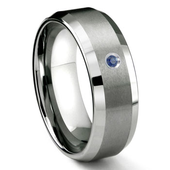Tungsten Carbide 8MM Satin Finish Beveled Sapphire Solitaire Wedding Band ring