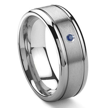 Tungsten Carbide Solitaire Sapphire Newport Wedding Band Ring