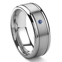 Tungsten Carbide Solitaire Sapphire Newport Men's Wedding Band Ring