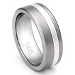 Flat 8MM Titanium Silver Inlay Wedding Ring