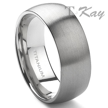 Titanium 8mm Dome Wedding Band Ring