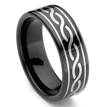 Black Tungsten Carbide Laser Engraved Celtic Ring