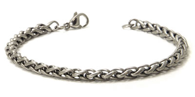 Titanium 4MM Wheat Link Bracelet