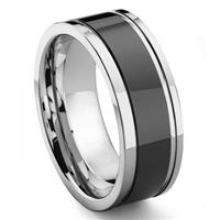 2nd Generation Tungsten Carbide Two Tone Wedding Band Ring w/ Grooves