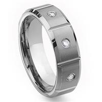 Tungsten Carbide Diamond Wedding Band Ring w/ Grooves 8mm