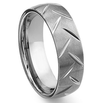 Tungsten Carbide Diamond Cut Groove Wedding Band Ring