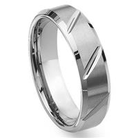 Tungsten Carbide Diamond Cut Groove Beveled Wedding Band Ring
