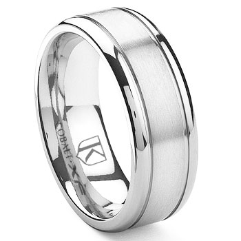 Cobalt XF Chrome 8MM  Double Grooves Wedding Band Ring