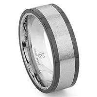 Cobalt XF Chrome 8MM Matte Finish Two-Tone Flat Wedding Band Ring